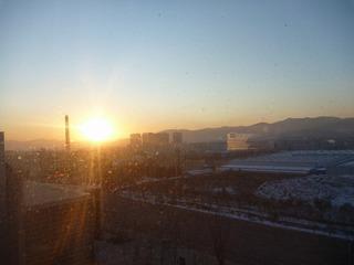 中国錦州の夜明け